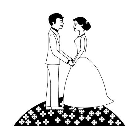 married couple in garden avatar character vector illustration design Иллюстрация