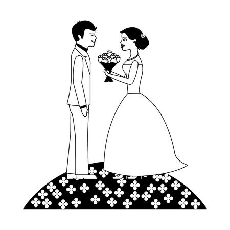 married couple with bouquet of flowers in garden vector illustration design Иллюстрация