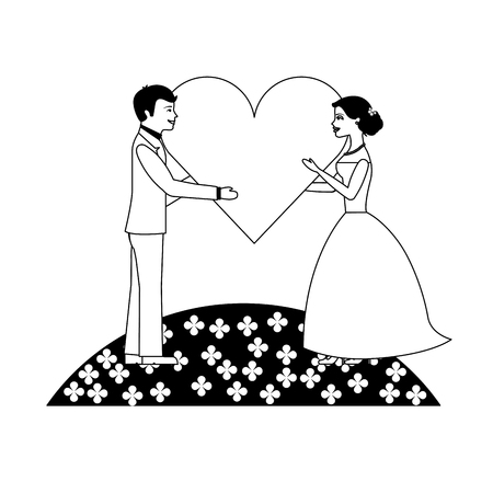 married couple in garden with heart isolated icon vector illustration design