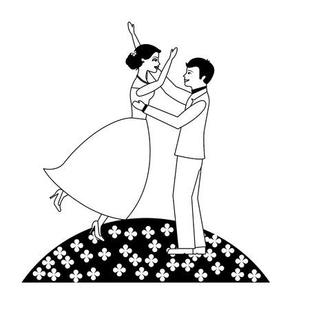 married couple celebrating in garden avatar character vector illustration design