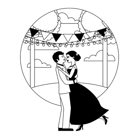 married couple dancing in landscape isolated icon vector illustration design
