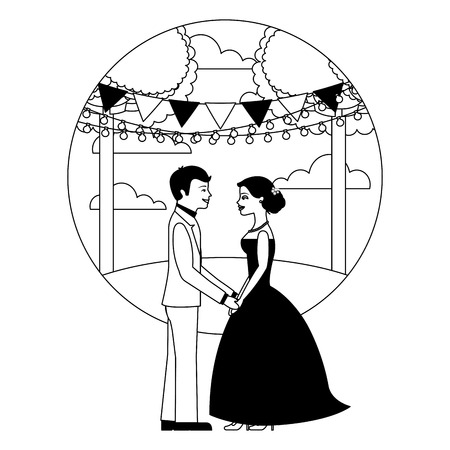 married couple in landscape avatar character vector illustration design