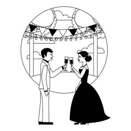 married couple in landscape with cups celebrating vector illustration design  イラスト・ベクター素材