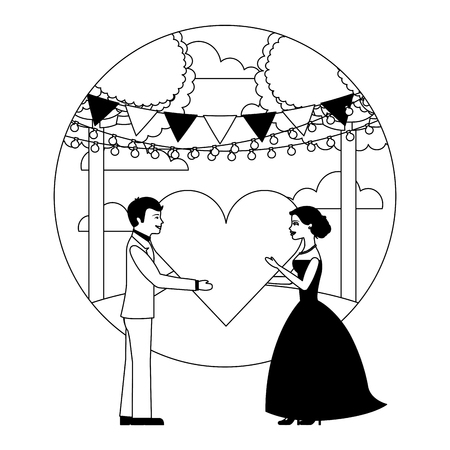 married couple in landscape with heart isolated icon vector illustration design