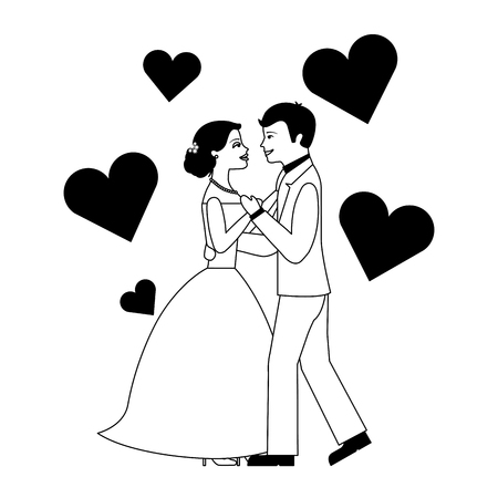 married couple dancing with hearts isolated icon vector illustration design Иллюстрация
