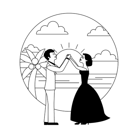 married couple dancing in beach isolated icon vector illustration design Banque d'images - 104525395