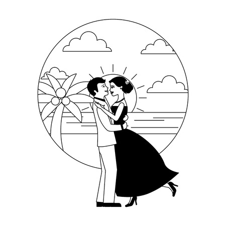 married couple dancing in beach isolated icon vector illustration design Иллюстрация