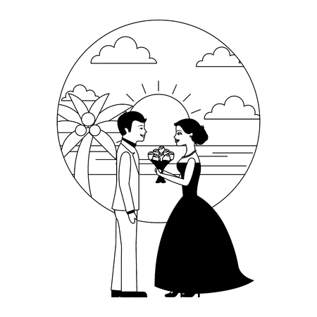 married couple in beach with bouquet of flowers vector illustration design Banque d'images - 104525398