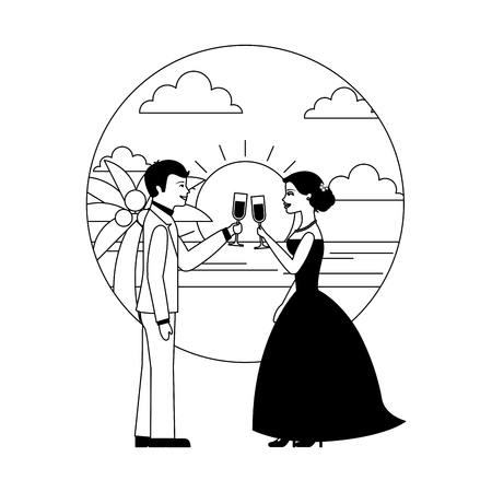 married couple in beach with cups celebrating avatar character vector illustration design Banque d'images - 104525401
