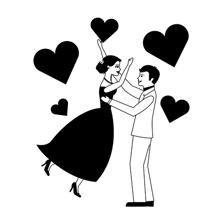 married couple celebrating with hearts isolated icon vector illustration design