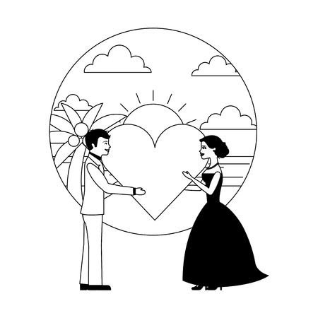married couple in beach with heart avatar character vector illustration design Фото со стока - 104525494