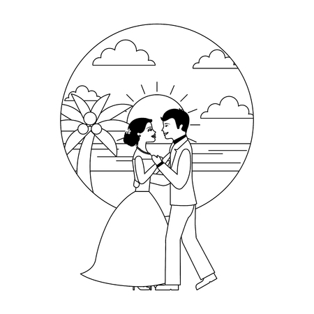 married couple dancing in beach isolated icon vector illustration design Banque d'images - 104525495