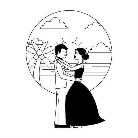 married couple dancing in beach isolated icon vector illustration design Banque d'images - 104525499