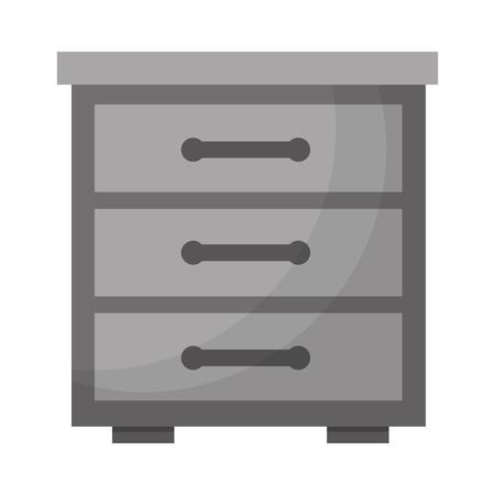 wooden furniture drawers bedside table vector illustration