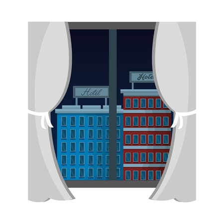 view from the window hotel buildings vector illustration vector illustration Banco de Imagens - 104525403