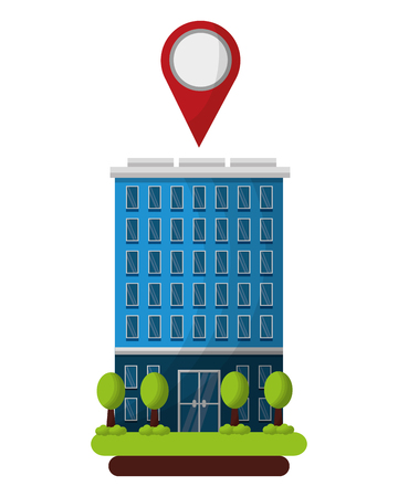 hotel building gps navigation pointer location vector illustration Ilustrace