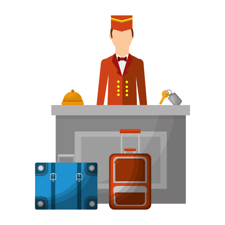 hotel manager reception bell key and suitcases vector illustration