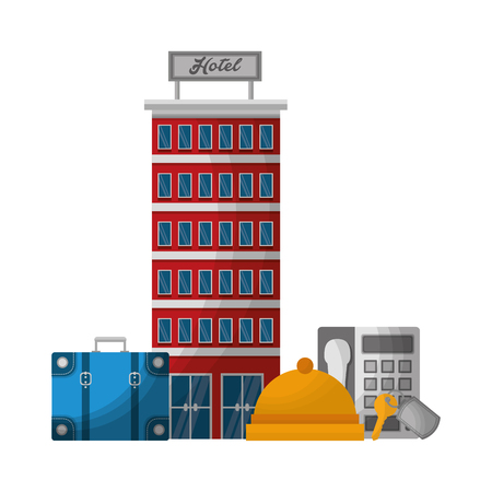 hotel building suitcase bell telephone vector illustration