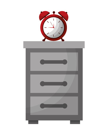 wooden bedside table and clock alarm vector illustration