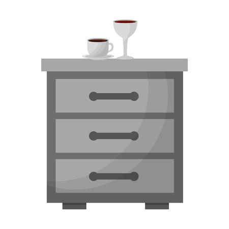 bedside table coffee cup and wine glass vector illustration Banque d'images - 114995318
