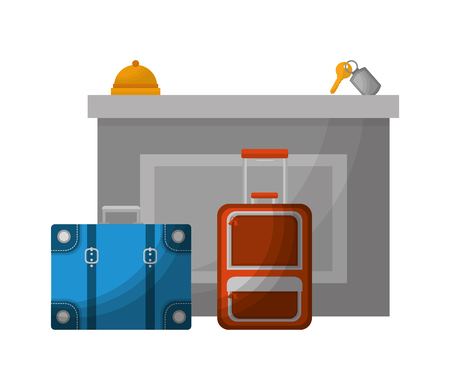 hotel reception suitcases bell and key suite vector illustration