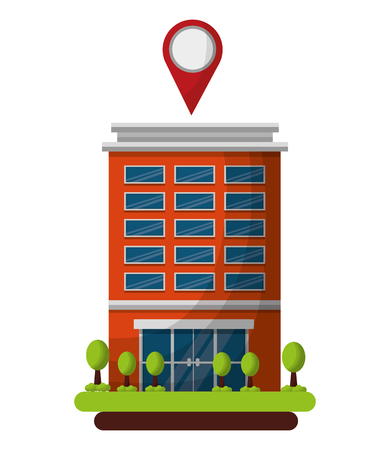 hotel building gps navigation pointer location vector illustration  イラスト・ベクター素材