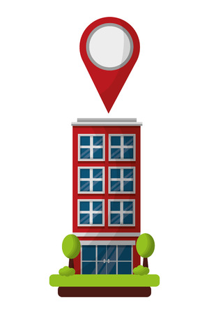 hotel building gps navigation pointer location vector illustration 스톡 콘텐츠 - 114997347