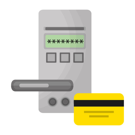hotel door digital panel with card access vector illustration Stock Illustratie