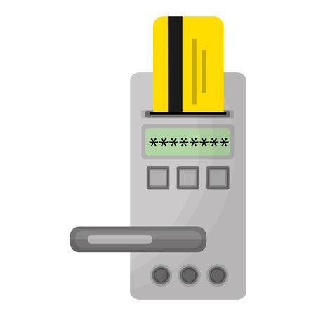 hotel door digital panel with card access vector illustration Standard-Bild - 114997350