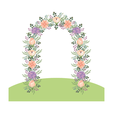 floral decoration ornament flowers arch vector illustration