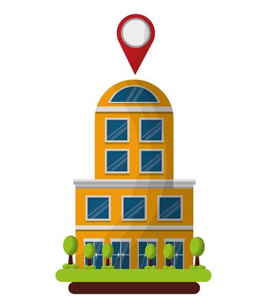 hotel building gps navigation pointer location vector illustration Ilustração