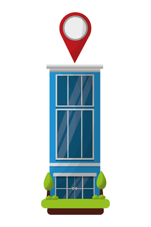 hotel building gps navigation pointer location vector illustration Çizim