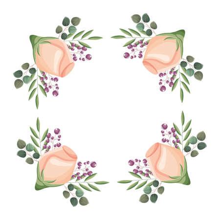 floral frame square flowers decoration vector illustration
