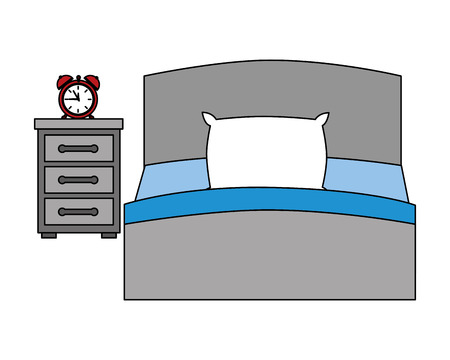 hotel bed and bedside table clock alarm vector illustration