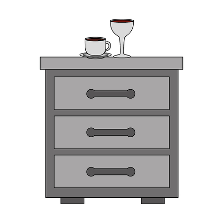 bedside table coffee cup and wine glass vector illustration