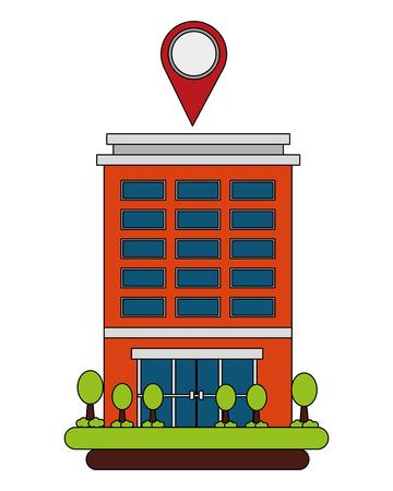 hotel building gps navigation pointer location vector illustration Çizim