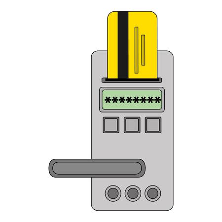 hotel door digital panel with card access vector illustration Standard-Bild - 114997398