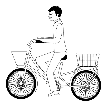 man in suit dress riding bike vector illustration Illustration