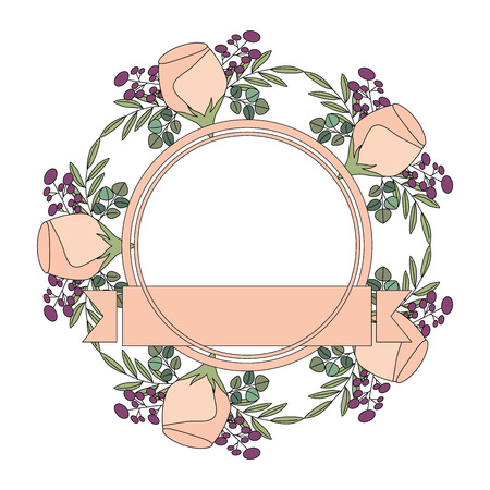 beautiful floral wreath and ribbon flowers decoration vector illustration Stock Illustratie