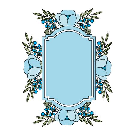 vintage frame decoration flowers leaves natural label vector illustration