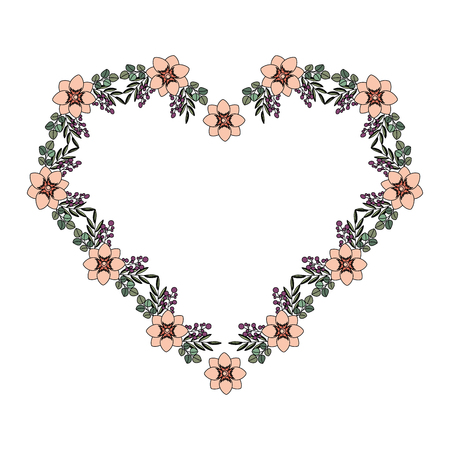 floral decoration flowers in the shape heart vector illustration