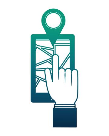 hand pushing marker gps location on smartphone vector illustration neon design