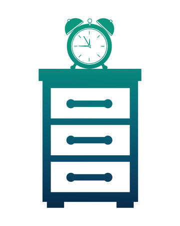 wooden bedside table and clock alarm vector illustration neon design