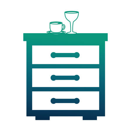 bedside table coffee cup and wine glass vector illustration neon design Banque d'images - 114997430
