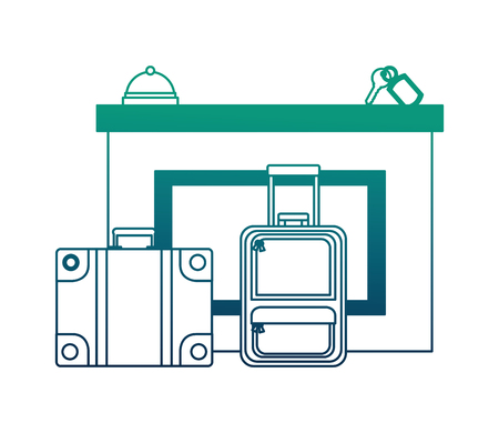 hotel reception suitcases bell and key suite vector illustration neon design