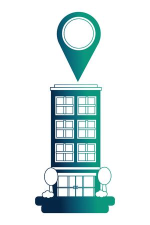 hotel building gps navigation pointer location vector illustration neon design