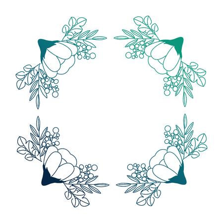 floral frame square flowers decoration vector illustration neon design