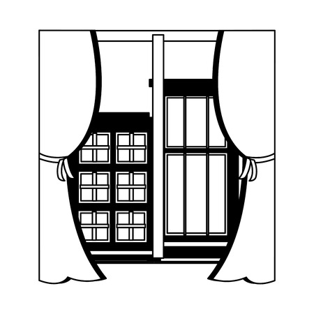 view from the window hotel buildings vector illustration vector illustration Banco de Imagens - 104532331