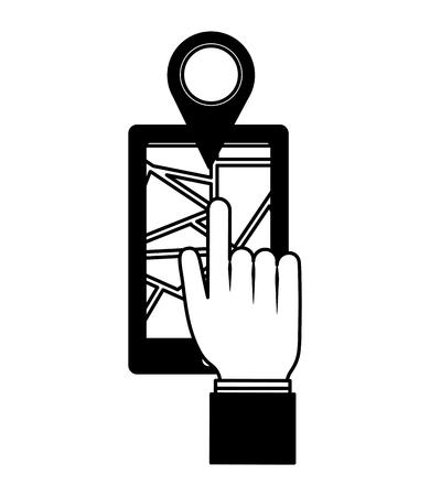 hand pushing marker gps location on smartphone vector illustration