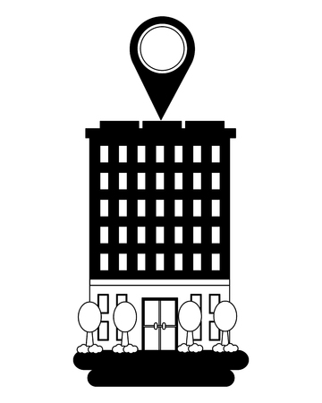 hotel building gps navigation pointer location vector illustration Stockfoto - 114997467